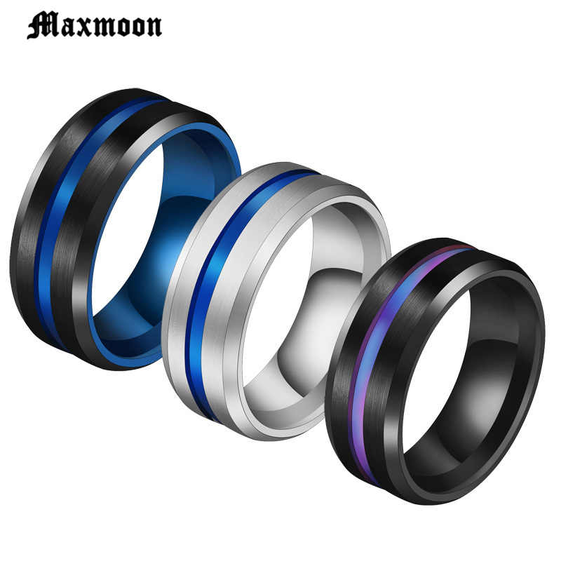 Maxmoon Venda Quente Sulco Anéis Midi Anéis Para Homens de Aço Inoxidável Preto Azul Charme Masculino Jóias Dropshipping