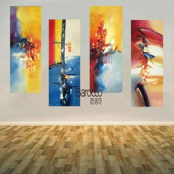 4 Pieces Hand Painted Oil Painting Abstract Pattern Painting Modern Home Wall Decoration No Frame