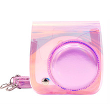Fujifilm Instax Mini 9 8 Camera Case Bag Transparent Holographic Laser Instant Camera Shoulder Strap Bag Protector Cover Pouch