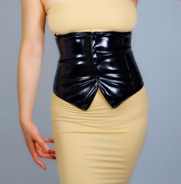 Women's Runway Fashion Patent Pu Leather Cummerbunds Female Dress Corsets Waistband Belts Decoration Wide Belt R2667