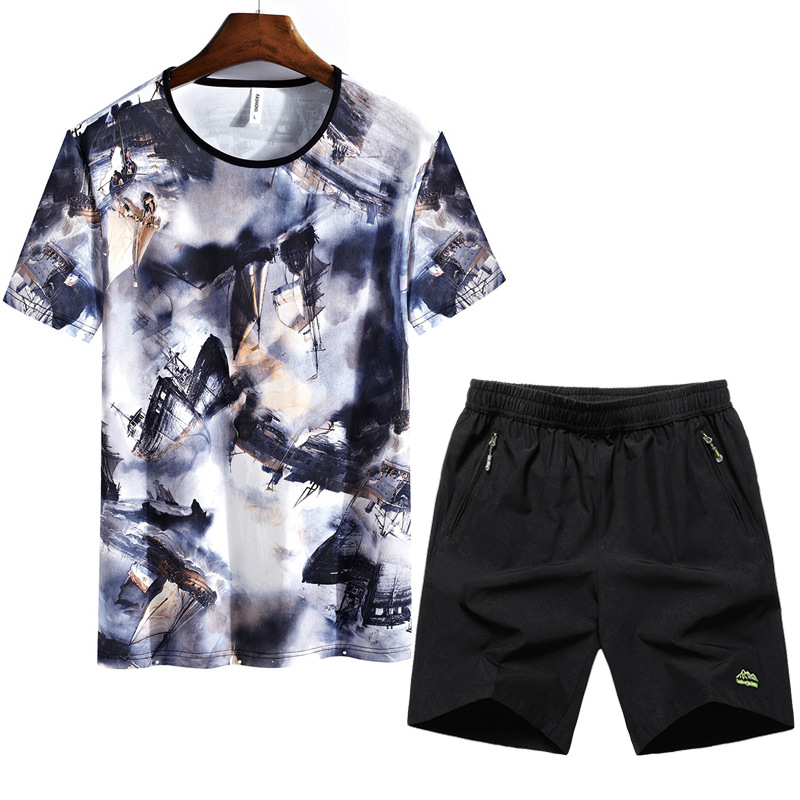 2019 New Style Outdoor Casual Sports Short Sleeved Shorts Suit Plus-sized Elasticity Set