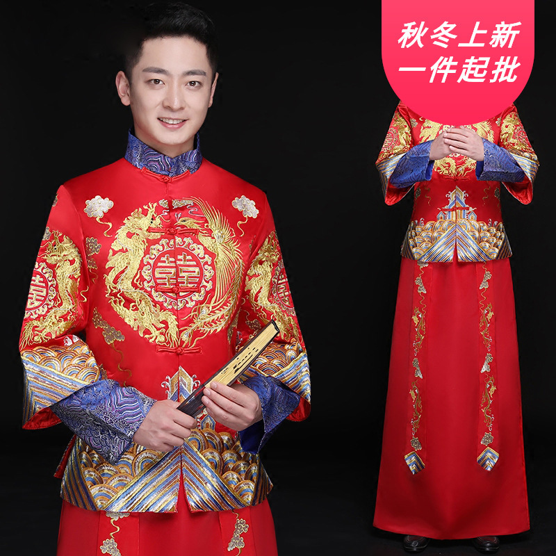 2020 Hot Sale Groom Tuxedo Mao Suit Suit Chinese Wedding Dress Dragon Phoenix Jacket Tang Men's Xiuhe Large Size Show And Style