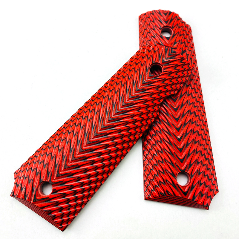 2Pieces 1911 Full Size Grips Red G10 Material Handle Grips Patch Custom Grips CNC Handle Grips