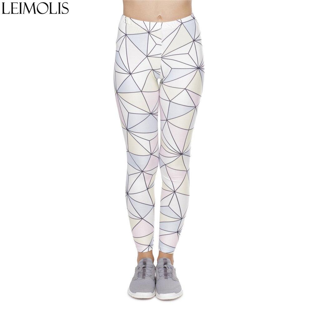 LEIMOLIS 3D Print White Geometry Fitness Push Up Workout Leggings Women Harajuku High Waist Punk Rock Sexy Leggins