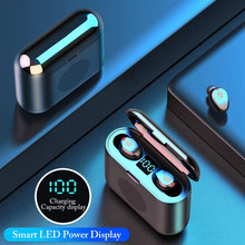 Hot F9 Tws 2000 Mah Bluetooth Oortelefoon V5.0 Tws Draadloze Hoofdtelefoon 9D Stereo Mini Speaker Met Mic Led Power Display power Bank(China)