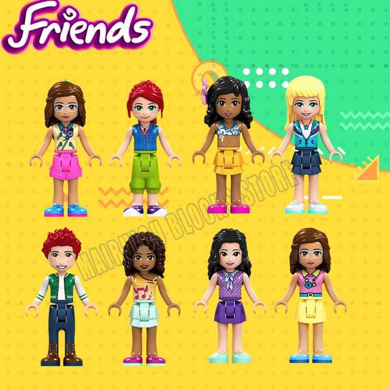 شخصيات الأصدقاء أوليفيا إيما ميا أندريا ستيفاني كيت آنا إلسا طقم مكعبات بناء متوافق مع الأميرة ألعاب للبنات هدايا