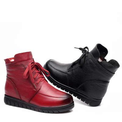 SZSGCN428 2020 Nieuwe Vrouwen Sneeuw Laarzen Vintage Lederen Natuurlijke Wol Bont Winter Warm Enkellaarsjes Voor Vrouwen Platte Moeder schoenen