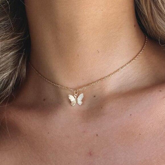 Женская позолоченная цепочка с подвеской в виде бабочки