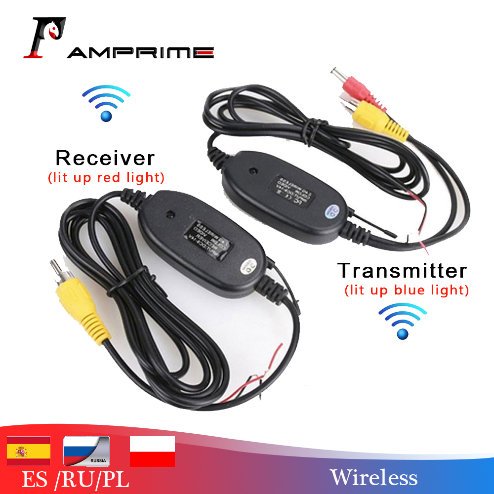 AMPrime 2.4ghz Wireless RCA Video Transmitter Receiver Kit For Car DVD Monitor GPS Rear View CCD Cam Reverse Backup Camera Cam