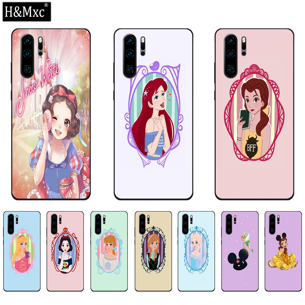 Beautiful Disney Princess Tempered Glass Phone Case For Huawei P30 Lite Back Cover Shell Pouch Coque Bumper For Huawei P30 Pro