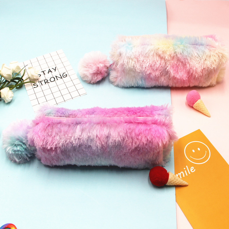 Rainbow Color Plush Pencil Bag School Purse Student Large Capacity Stationery Case Storage Bag Octagonal Pencil Case Pouch Gift