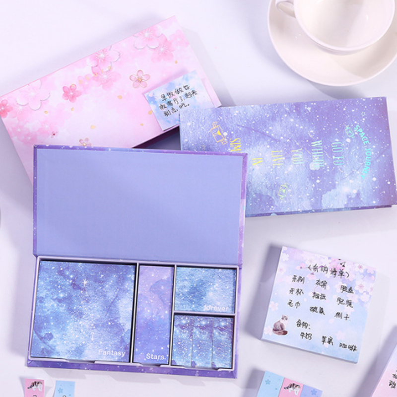 NEW Eight Kinds Of Style Notepad 1 Sets Note Box Set With Hot Foil Shredding Notepad For Notes Small Book Stickers Pad