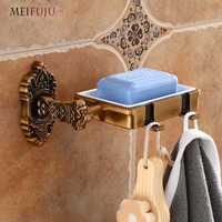 Detachable Soap Dishes Antique Soap Holder Wall Mounted Bathroom Shelf with Folding Hook Soap Basket New Bath Holders Products