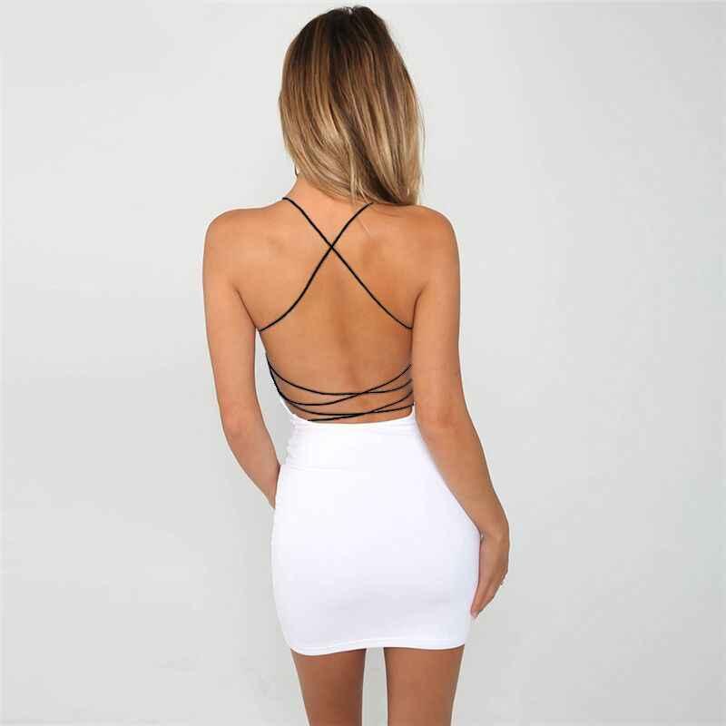 Yaz kadın Bodycon elbise kolsuz Backless v yaka Boho Chic plaj parti iş günlük elbiseler Mini Sundress Vestido De Festa