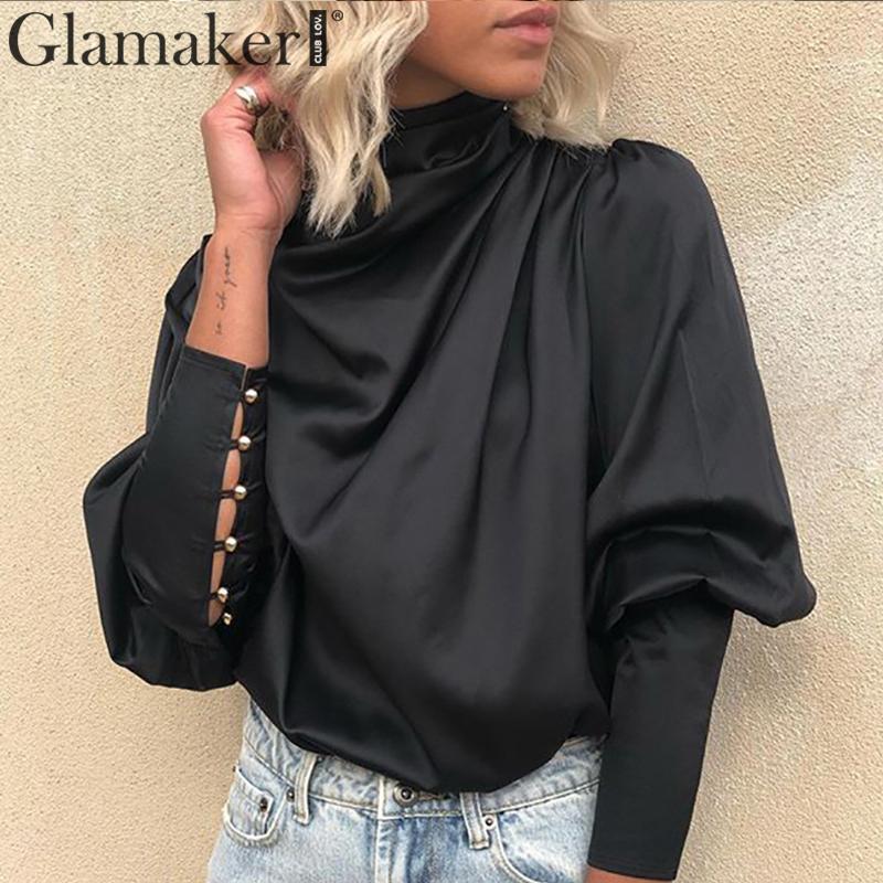 Glamaker Black High Collar Elegant Blouse Women Long Lantern Sleeve Buttons Office Lady Blouse Female Autumn Winter Sexy Blouse