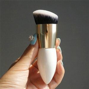 Image 3 - Saiantth Enkele Chubby Houten White Gold Make Up Kwasten Beauty Tool Foundation Brush Kegel Handvat Dichte Schuine Pincel Maquiagem