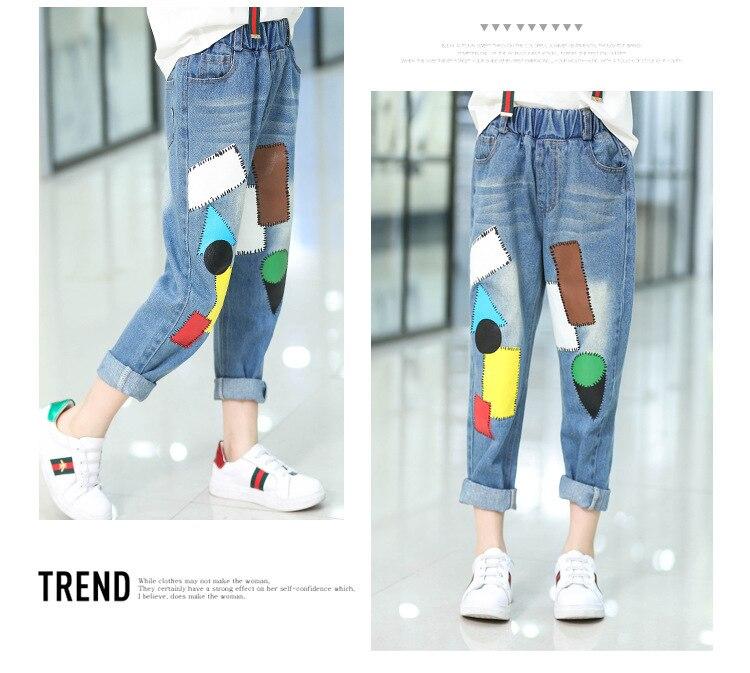 Kids Girls Jeans Pants autumn Fashion Leggings Cartoon Cat Children Pencil Long Trousers Pantalon Fillette for Under 11 Yrs 6