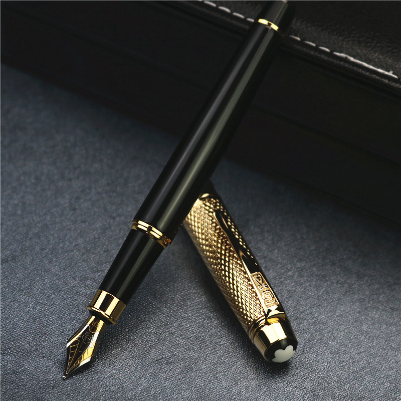 High quality fountain pen colleagues giving gifts metal ink pen golden cap office school writting
