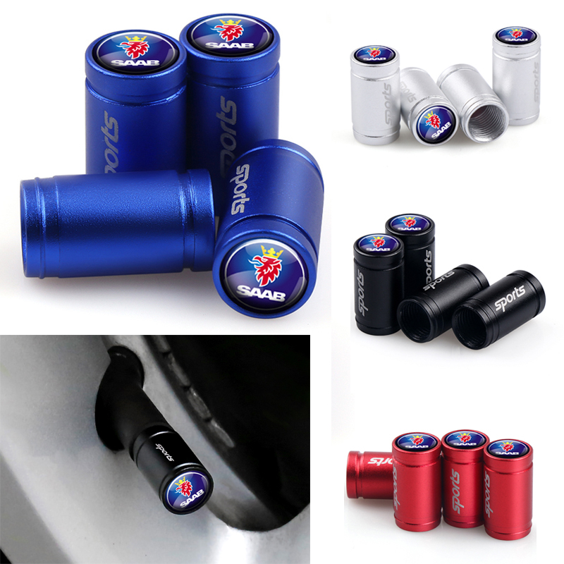 Car Styling Sports Wheel Tire Valve Caps Cover For SAAB 9-3 9-5 93 9000 900 9-7 600 99 9-X 97X Turbo X Monster 9-2X GT750 92
