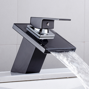 Bathroom Waterfall Faucet Glass Waterfall Brass Basin Faucet  Bathroom Mixer Tap Deck Mounted Basin Sink Mixer Tap waterfall basin faucet for bathroom torneira oil rubber brushed deck mounted sink mixer tap single handle faucets