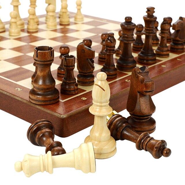 Jeu d'échecs en bois noyer massif, pliable de 78MM - cadeau idéal 6
