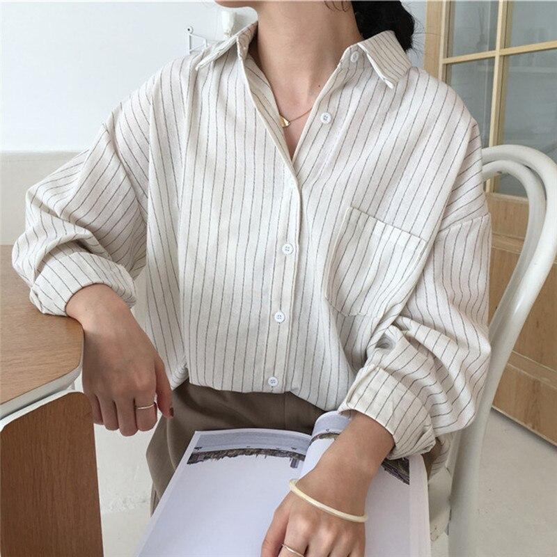 Женская элегантная рубашка с v-образным вырезом, длинный рукав, полосатая блузка, осенняя, корейский стиль, длинная рубашка, однотонный