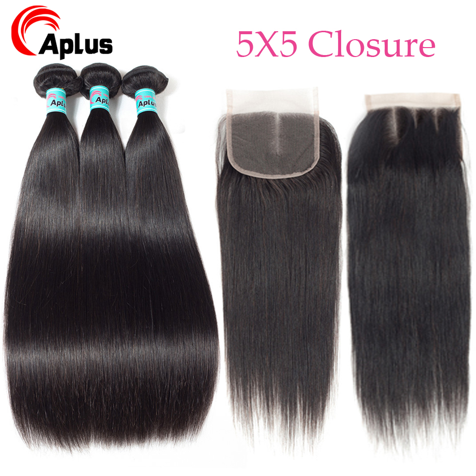 Aplus Hair Straight Peruvian Hair Bundles With Closure 100% Human Hair Weave 3 Bundles With 5*5 Swiss Lace Closure Non Remy