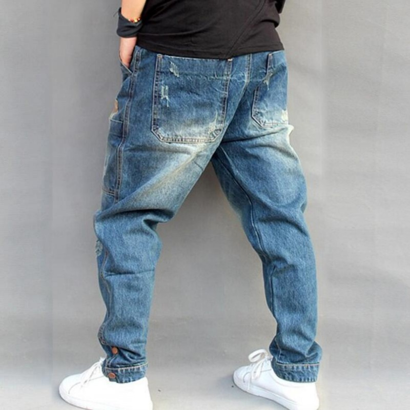 Blue Hole Ripped Baggy Jeans Men Hip Hop Streetwear Skateboarder Denim Pants Men's Loose Fit Plus Size Hiphop Jeans Size S-4XL