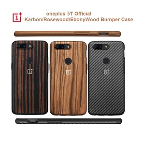 Image 1 - Original Official  Oneplus 5T 6T 7pro  Bumper Case Back Cover Karbon Rosewood Ebony Wood  All round Protection shell oneplus 5t