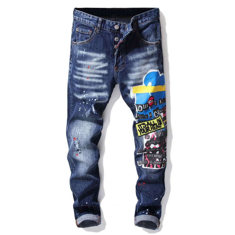 New Men Skinny Jeans Stretch Printed Ripped Jeans Blue Paint Male Trousers Clothes Streetwear Spring Autumn Winter Hip Hop