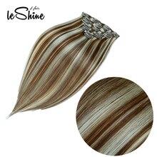 """Leshine Remy прямолинейный скрепка в Пряди человеческих волос для наращивания 1"""" 16"""" 1"""" человеческих волос на зажимах накладные волосы на заколках, 7 шт./компл"""