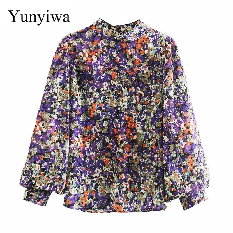 New 2020 Women Vintage Stand Collar Floral Print Casual Kimono Blouse Women Pleats Lantern Sleeve Chic Shirt Chemise Tops