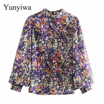 Nowy 2020 kobiet kołnierz stójka w stylu vintage kwiatowy print casual kimono bluzka kobiety zakładki latarnia rękaw szykowna koszula bluzka topy tanie i dobre opinie Mikrofibra Akrylowe Poliamid REGULAR Stojak WOMEN NONE Trzy czwarte High Street Suknem Drukuj 9487