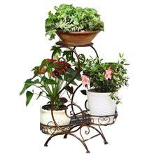 Кованая подставка для цветов, напольная стойка для горшка, многослойная Домашняя и уличная Европейская Цветочная стойка для гостиной, балкона, спальни, зеленая F