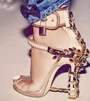 De Lujo extraño tacón de candado de las mujeres sandalias de tacones Jeweled correa de tobillo de sandalias, zapatos de boda, zapatos de novia
