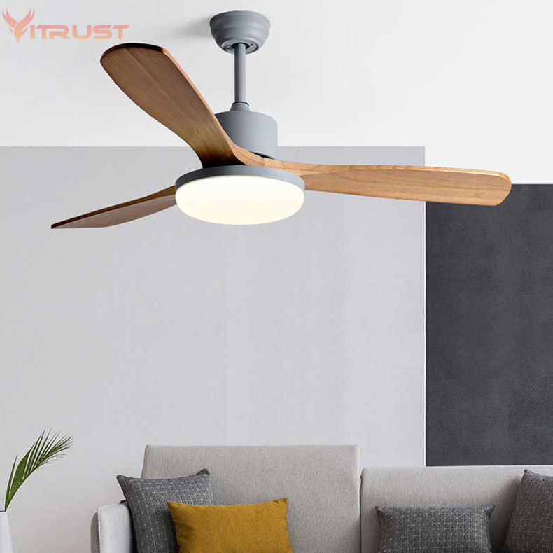 Reversible Ceiling Fan Light Three-blade Indoor Wooden Ceiling Fan With Lamp And Remote Control For Summer & Winter Agreeable Sweetness