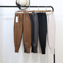Mooirue Winter Trousers Women Suede Solid Vintage Streetwear Mid Waist Loose Harajuku Harem Pants Korean Style Plus Size Bottom