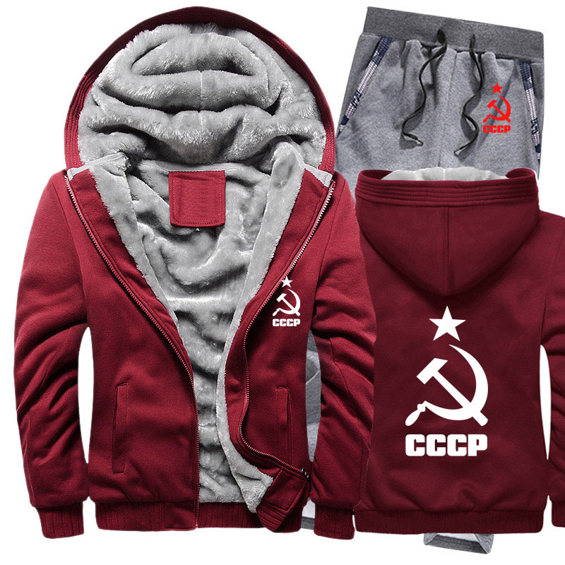 Winter Fleece Thicken Tracksuit CCCP Russian Hoodies Men Set Casual Warm USSR Soviet Union Sweatshirts Jacket + Pants 2Pcs Sets
