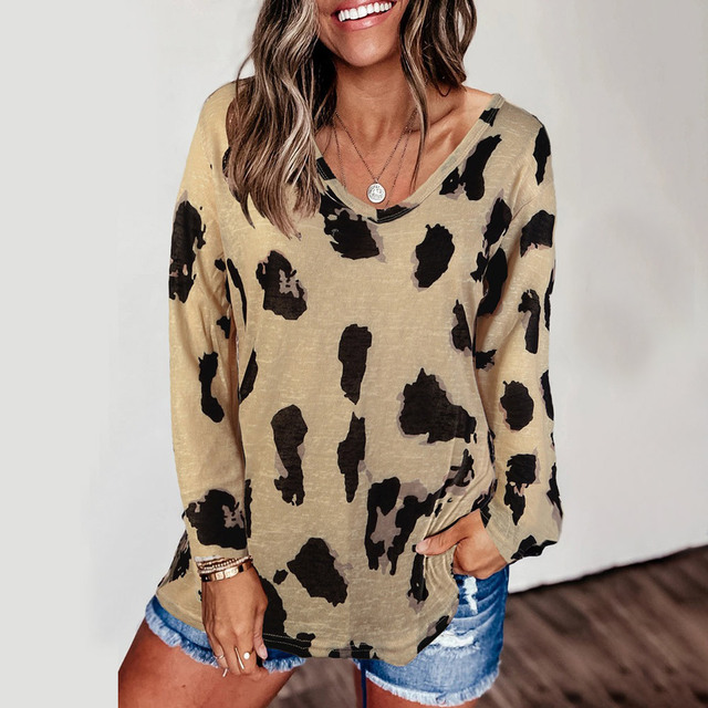 Leopard V-Neck Woman Clothes Fall New T Shirts for Women t shirts graphic tee oversized Loose Female Top Tees Aesthetic Tops