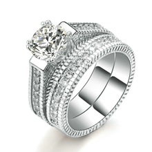 New 925 Sterling Silver Ring Simulation Diamond For Woman Engagement Wedding Luxury Jewelry Gift
