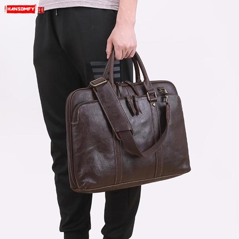 Business Real Genuine Leather Men's Handbag Male 14 15.6 Inch Laptop Briefcase Soft Leather Men Travel Shoulder Messenger Bags