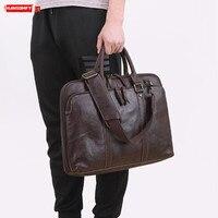 Men's Handbag Laptop Briefcase Soft Leather Men Travel Shoulder Messenger Bags Business Real Genuine Leather Male 14 15.6 Inch