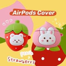 Симпатичный чехол для airpods 1 2 с персиковым Кроликом клубничным