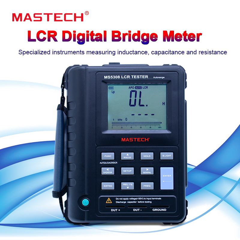 Mastech MS5308 LCR Meter Portable Handheld Auto Range LCR tester High-Performance 100Khz