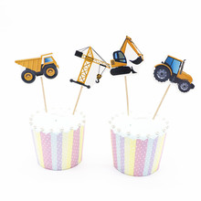 24pcs/bag  boy gift cake toppers Excavator party birthday party baby shower flag home party cake decoration supplies