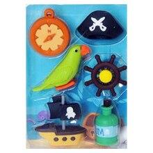 4 коробки в партии, ластик с изображением пиратского флага, дизайн, ластик с изображением пиратского корабля, попугая, с милым спасательным буем, школьные принадлежности, канцелярские принадлежности