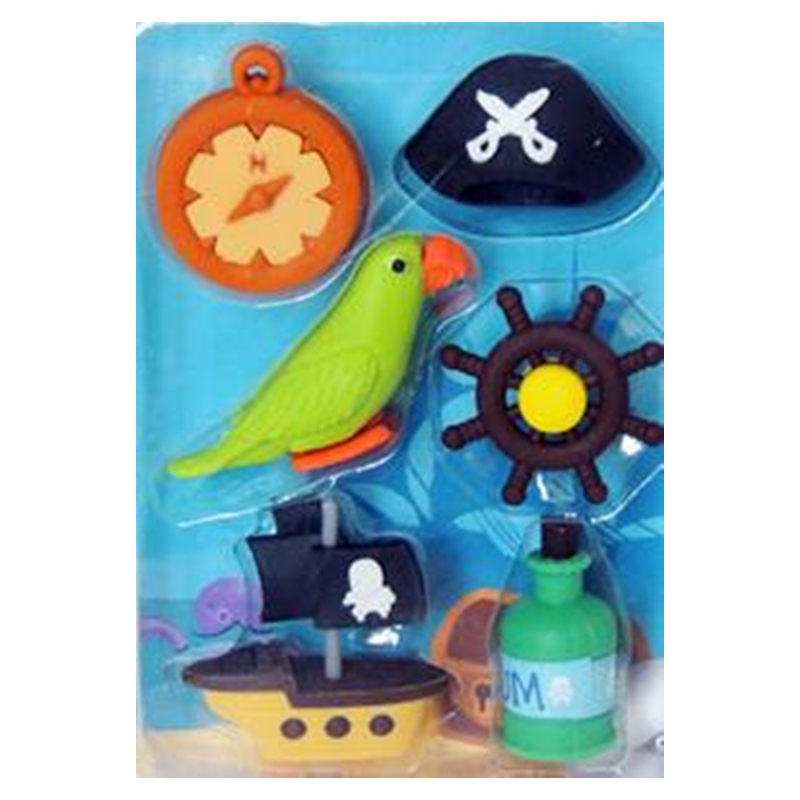4 Boxes Per Lot Cartoon Pirate Flag Eraser New Design Pirate Ship Parrot Eraser With Cute Life Buoy School Supplies Stationery