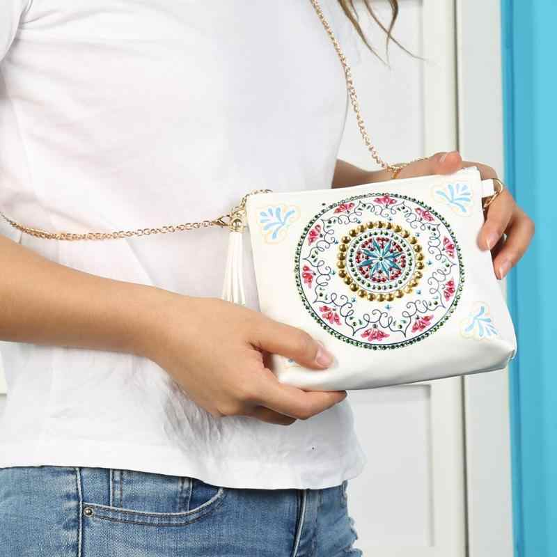 Diy especial em forma de diamante pintura sacos de corrente diamante bordado mulher embreagem carteira couro crossbody sacos presente natal