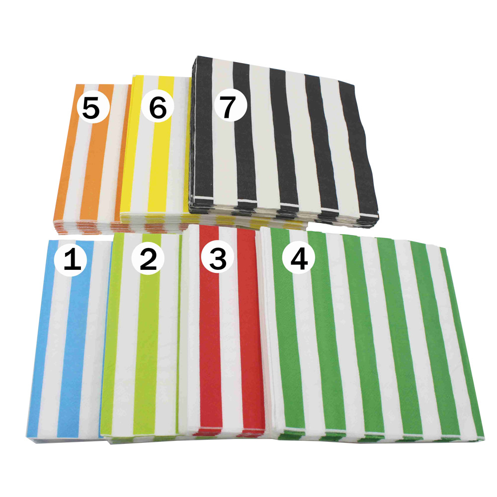 [Currently Available] Color Printed Napkin Stripes Creative Tissue Napkin RUYD-05
