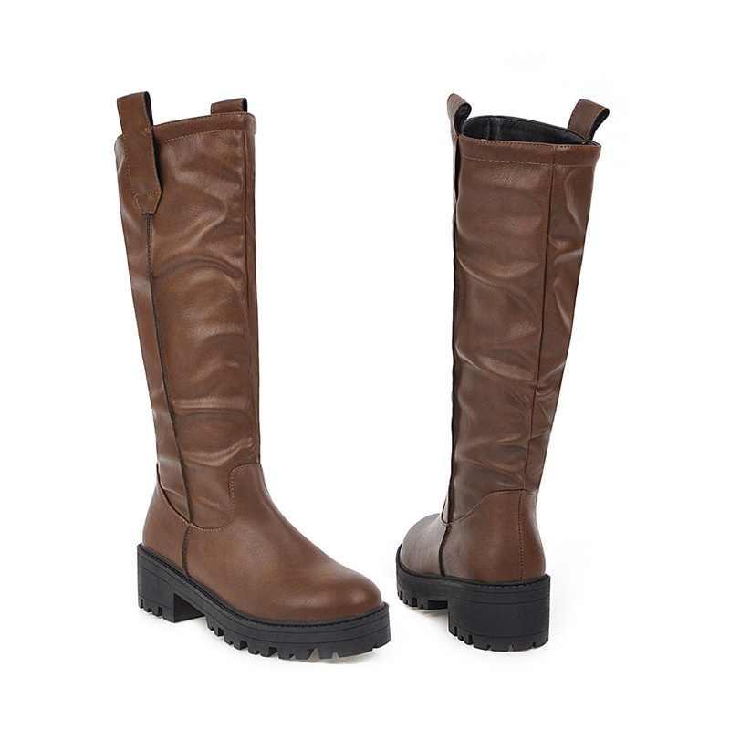 EGONERY kış yeni özlü rahat diz yüksek çizmeler dışında rahat orta topuklu platform artı boyutu kadın ayakkabı damla nakliye